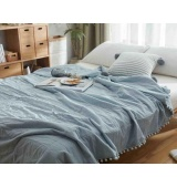 Washed Cotton Quilts Solid Color Throw Blankets Warm Comforters With Balls Washable Nap Cobertor Air Conditioning Bed Cover Summer Bedspread Cobertor 150X200Cm Intl Lowest Price