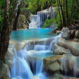 Latest Waterfalls Nature Scenery Shower Curtain Bathroom Waterproof Fabric 72 Inch