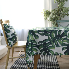 Nordic Broadleaf Turtle Bamboo Living Room Square Green Table Cloth For Sale