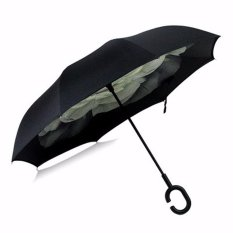 Windproof Big Double Layer Upside Down Inside Inverted Umbrella Reverse C-Handle