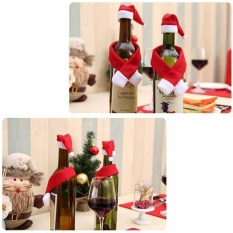 Wine Bottle Cover Hat Wrap Scarf Christmas Decoration Home Santa Decor - intl