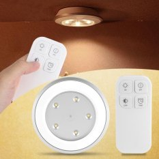 【Free Gift】Hot Wireless 5 Led Cabinet Night Light Wardrobe Bedside Lamp Remote Control Battery Powered Intl Online