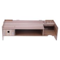 Cheaper With Drawer Stand Monitor Stand Desk Organizer Storage Box Cherry Wood Intl