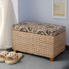 Rattan straw storage box stool