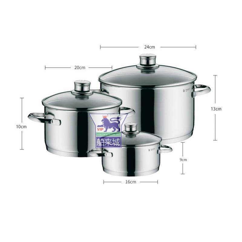 Germany Origional Product wmf saphir Stainless Steel Soup Pot Stewing Pot Stew-pan Milk Pot Cookware Three-piece Set Singapore