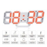 Best Rated Womdee 3D Digital Alarm Clock 3 Adjustable Brightness Levels Led Wall Clock With Date And Temperature Display For Home Bedroom Office Intl
