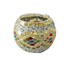 Womdee Mosaic Glass Votive Candle Holder Table Decoration Centerpiece (Yellow) - intl
