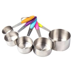 Sale Womdee Set Of 5Pcs Measuring Cups Set Kitchen Stainless Steel With Silicone Handles Measuring Cups Spoons Intl On China