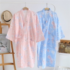 Women S Spring And Autumn Robe Japanese Style Cotton Kimono Sweat Steaming Clothes Thin Section Large Flower Long Section Bathrobe And Wind Nightgown Summer Online