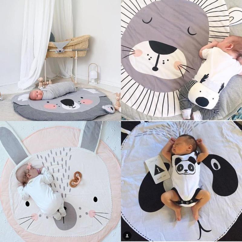 Wonderful Power New Popular Kids Room Decoration Cotton Chilren Padded Mat Baby Crawling Blanket Round Carpet Play Rug 5 styles-Grey-Koala - intl