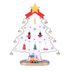 Wooden Christmas Tree Diy Table Ornament Xmas Table Decor Kids Gift (white) By Crystalawaking.