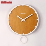 Wood Swing Wall Clock Children Room Museum Theme Park Decorate Yellow Intl Reviews