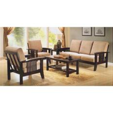 Wooden Sofa Set (3 + 1 +1 Seater + Coffee Table + Side Table)