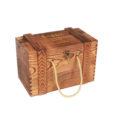 Solid Wood Vintage Jars Packaging Wooden Box Wooden Liquor Box Hole Hide Wine Wooden Packing Box Spirit Wooden Box Custom-Built