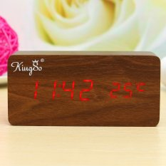 Price Comparisons Wooden Wood Digital Led Alarm Modern Clock Time Calendar Thermometer Usb Aaa Brown Wood Red Led Intl