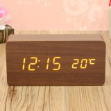 Price Comparisons Wooden Wood Digital Led Alarm Modern Clock Time Calendar Thermometer Usb Aaa Brown Wood White Led Intl