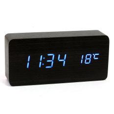 Discounted Wooden Wood Usb Aaa Digital Blue Led Alarm Clock Calendar Thermometer Black