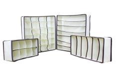 woowof Drawer Dividers Closet Organizers Bra Underwear Storage Boxes (Off White,Set Of 4)