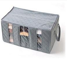 woowof Three Grid Bamboo Charcoal Clothing Storage Box With Windows Category