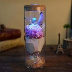 Wr Red Eternal Flower Led Light Eternal Rose Flower Preserved Beauty Real Natural Fresh Red Roses Flowers Gifts - intl