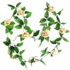 XinNing Artificial Hanging Vine Plant Rose Leaves Garland Home Garden Wall Decoration, Champagne