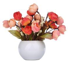 XinNing Simulation Silk Flowers Camellia Sasanqua Artificial Flowers Set with Round Vase,orange