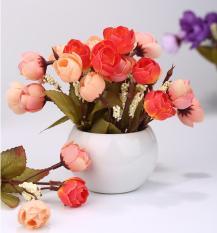 XUNMEI Simulation Silk Flowers Camellia Sasanqua Artificial Flowers Set With Round Vase,orange