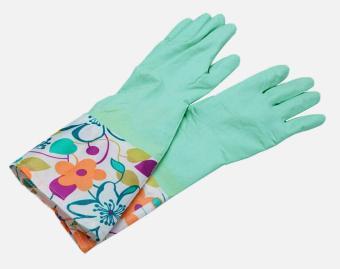 XUNMEI Single Layer Wide Mouth Rubber Gloves Antiskid Household Laundry Dishwashing Gloves (Cyan)Pattern Random