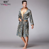 Wholesale Yao Ting Autumn New Style 5 Color Long Sleeved Nightgown Men Bathrobe Silk Pajamas Men S Long Section Of Home Clothes