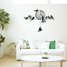 YBC 3D Wall Clock Iron Birds Pendulum Mute Quartz Clock For Home Decoration - intl