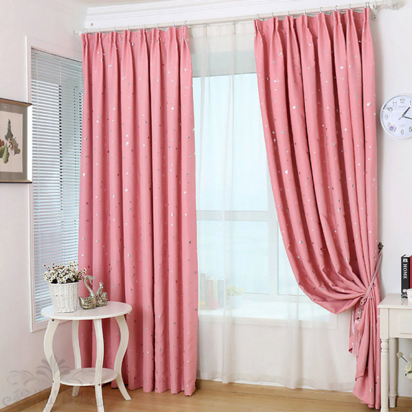 Yika 1Pcs 100*250cm Blackout Star Pattern Curtain (Pink)