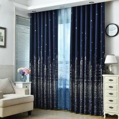 Yika 1Pcs 100*250cm Window Sun Insulation Blackout Castle Pattern Shade Cloth Curtain (Navy Blue)