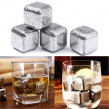 Promo Yika 8Pcs Square Silver With Tongs Reusable Stainless Steel Whisky Wine Ice Stones Drinks Cooler Cubes Whiskey Scotch Intl