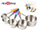 Best Buy Yiokmty Set Of 5Pcs Measuring Cups Set Kitchen Stainless Steel With Silicone Handles Measuring Cups Spoons Intl