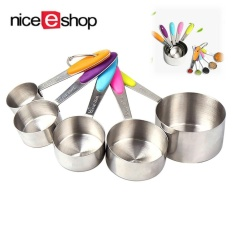 Yiokmty Set Of 5Pcs Measuring Cups Set Kitchen Stainless Steel With Silicone Handles Measuring Cups Spoons Intl On Line