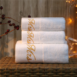 Best Rated Yisoo 3 Pieces Luxury Bath Towel Set 100 Cotton Embroidered Hotel Bath Towel For Adults White