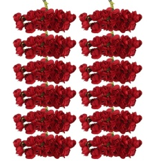 yiuhua 12 Bouquets of Artificial Roses Tissue Paper Flowers for Wedding and Home Decor (144pcs, Red) - intl