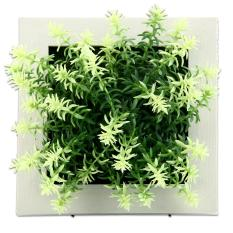 yiuhua 3D Imitation Frame Shape Wall Hanging Artificial Flowers Metope Fake Succulents For Decoration (09#)