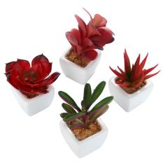 yiuhua Set Of 4 Modern White Ceramic Mini Potted Artificial Succulent Plants