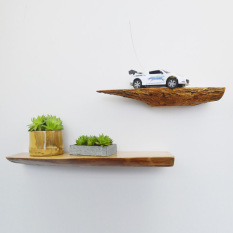 Solid wood one-word wall shelf