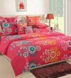Where To Shop For Yuga 100 Cotton Queen Size Bedding Set 3 Pcs Floral Pattern Bedsheet Pillowcase Flatsheets 210 Tc Bed Linen Pink Intl