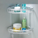 Review Yunmai Bathroom Shelf Aluminum Wall Mounted 2 Layer Triangle Rack Storage Basket Oem On China