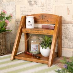 Zakka New Style Wood Double Layer Storage Shelf Succulents Show Pergola Cosmetics Desktop Storage Shelf