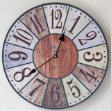 Sale Zakka Retro Hight Quality Silent Retro Wooden Decorative Round Wall Clock Antique Vintage Rustic Wall Clocks 35X35Cm Oem Cheap