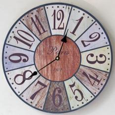 Recent Zakka Retro Hight Quality Silent Retro Wooden Decorative Round Wall Clock Antique Vintage Rustic Wall Clocks 35X35Cm
