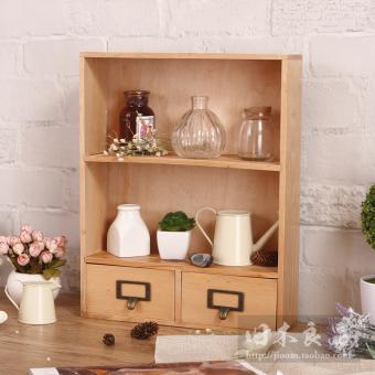 Get Cheap Zakka Retro Wooden Desktop Makeup Products Finishing Rack Storage Box