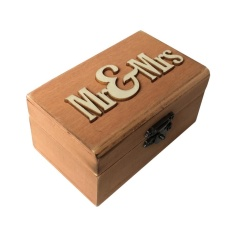 ZongHAX Wooden Ring Box Wedding Ring Box Vintage Country Style With MR and Mrs - intl