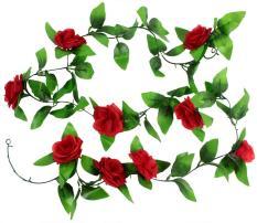 zoowop Artificial Hanging Vine Silk Rose Flower Leaves Garland Home Garden Wall Decoration, Red