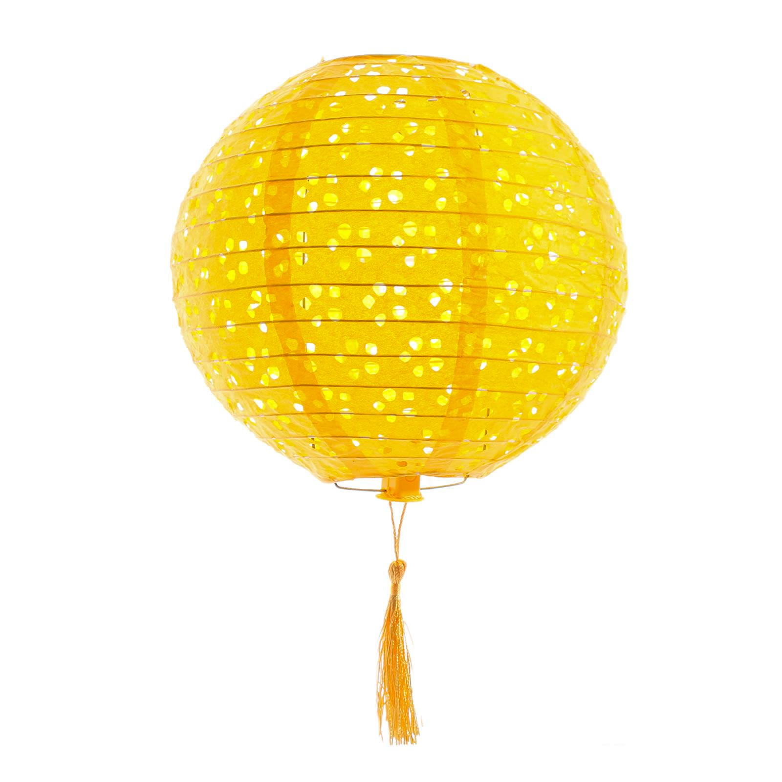 3PC 8 Inch Traditional Round Decorative Lanterns (Yellow)
