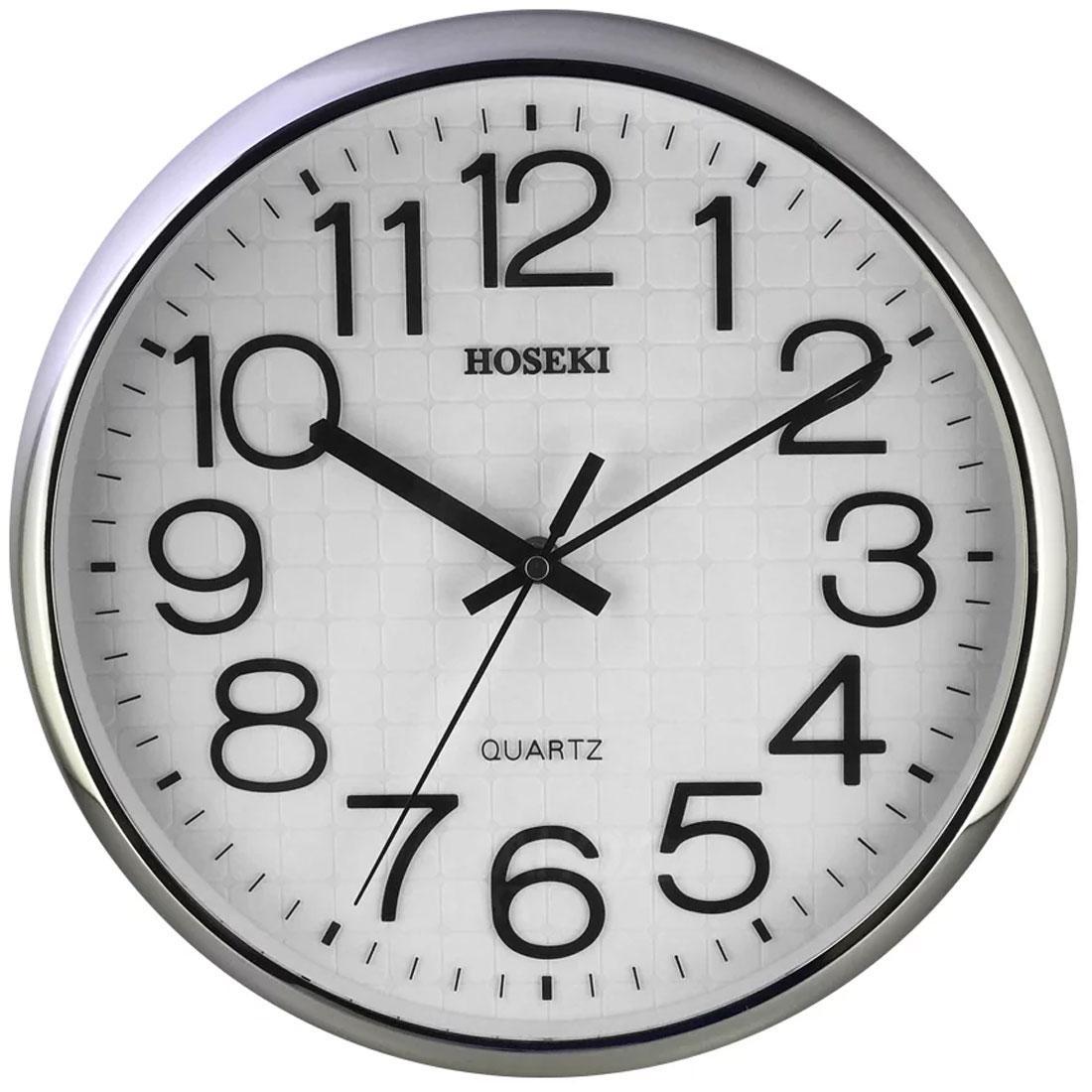 Hoseki Quartz H-9404 H-9404S Sivler Chrome Analog Round Wall Clock